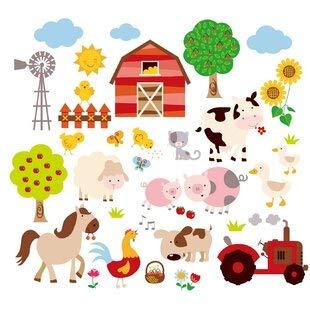 Farm Friends Sticker mural pour chambre d'enfant Motif animaux de compagnie