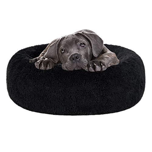 NHFOREST Beruhigendes Shag Kunstpelz-Hundebett, Donut Cuddler Katzenbett Waschbares rundes Kissen Haustierbett (23