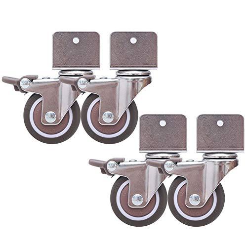 GINVF Juego de 4 Ruedas giratorias para cunas, con Soporte Tipo U, Ruedas de Goma de 2 in de 50 mm con Frenos, Mudo, rodamientos de Bolas, Capacidad 80 kg, con Tornillos (16-25 mm) (Size : 16mm)