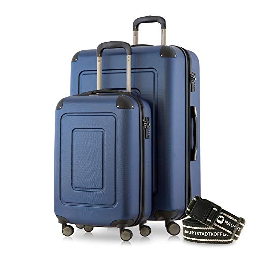 Happy Trolley - 2er Koffer-Set Trolley-Set Rollkoffer Hartschalen-Koffer Reisekoffer Lugano sehr leicht, TSA, (S+XL), Dunkelblau +Gepäckgurt