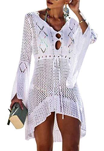 Tuopuda Copricostume Mare Donna Copricostume da Bagno Scollato a V Uncinetto Maglia Bikini Cover Up Manica Campana Copricostumi da Bagno Maglia Tunica Bikini Camicetta, Taglia unica, Bianco