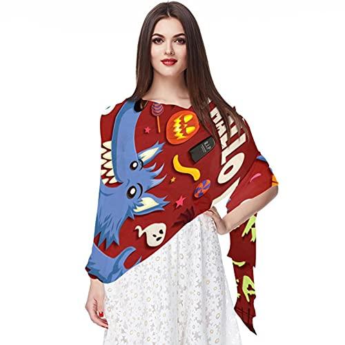 WJJSXKA Bufandas de gasa suave, chales, abrigos para vestidos, accesorios de mujer, murciélago de linterna de calavera de Halloween