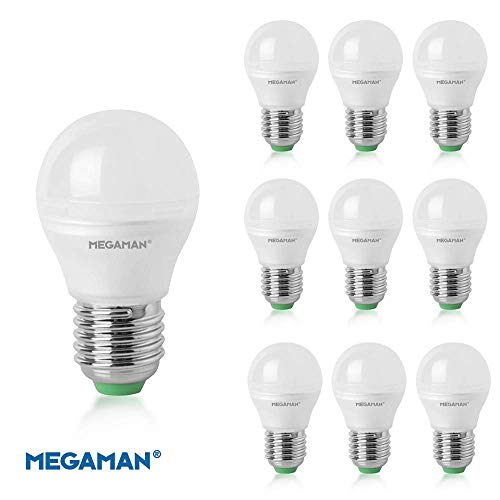 Packung mit 10 x Megaman LED 142592 Dimmbarer R9 Classic Opal Golfball E27 Edison Schraube 2800K Warmweiß 5.5W 470lm