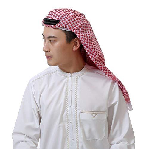 Kopfbedeckung Herren Ethno Style Arabischer Kopfschmuck Klassiker Fashion 1001 Classic Nacht Karneval Cosplay Kostüm Zubehör Jungs (Color : Rot, Size : One Size)