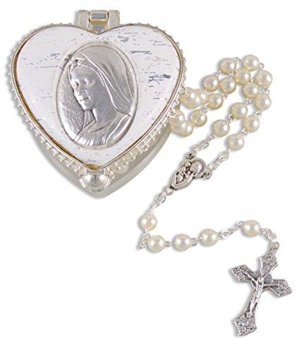 Ars-Bavaria Rosenkranz feine Perlen Ausführung, Rosary, in hochwertigem Maria Herz Schmuckkästchen