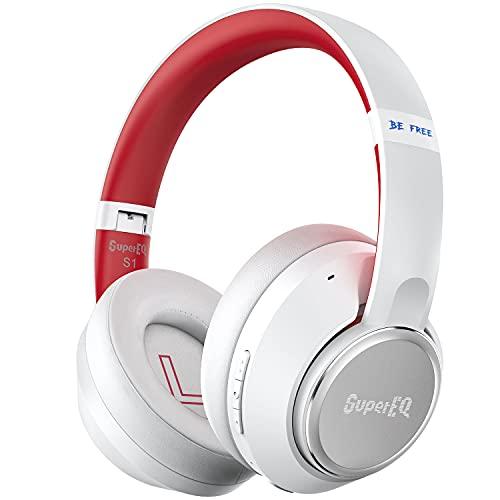 Image of SuperEQ Hybrid Active Noise Cancelling Kopfhörer kabellos, Bluetooth 5.0 Kopfhörer Over-Ear, Headset mit ANC Geräuschunterdrückung, 45h Akku, Bass, Mikrofon, Sprachanruf, Verbindung von 2 Geräten