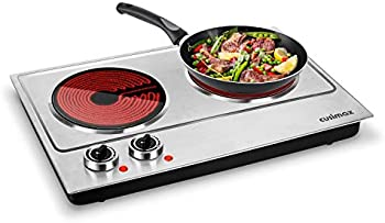 Cusimax Hot Plate 1800W Ceramic Electric Double Burner for Cooking