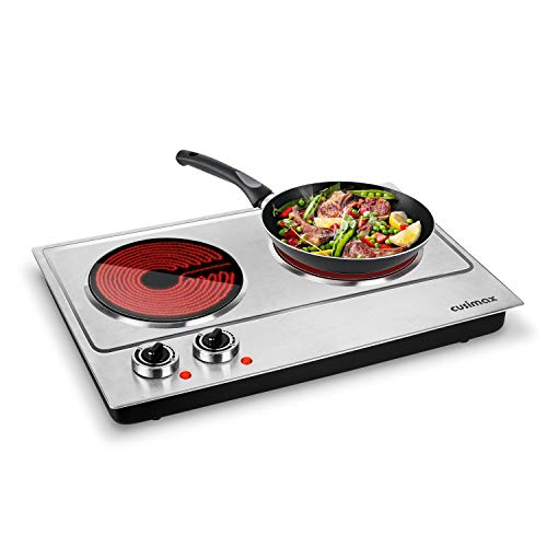 Cusimax Hot Plate, 1800W Ceramic Electric Double Burner for Cooking, Infrared Cooktop, Glass...