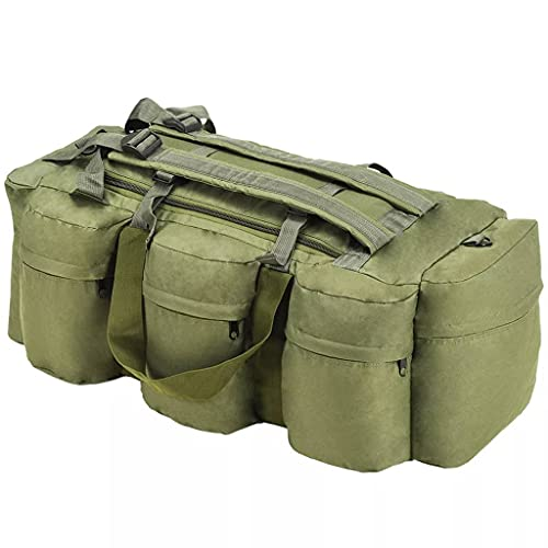LONGMHKO Bolso de Lona Estilo Militar 3-en-1 120 L Verde Oliva Dimensiones (sin Bolsillos Laterales): 62 x 27 x 27 cm (Anchura x Profundidad x Altura)