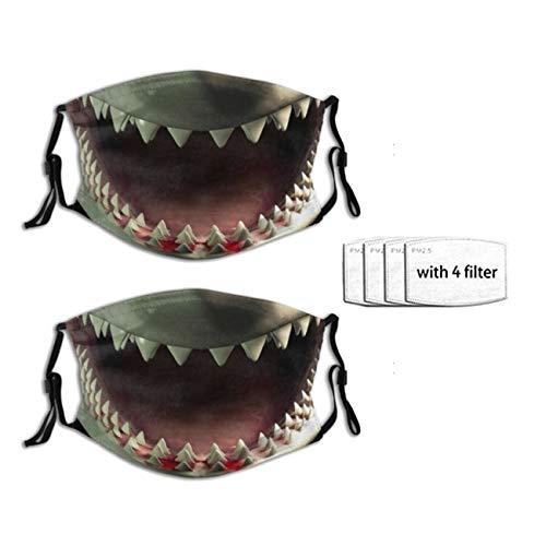 2 PCS Shark Teeth Face Mask for Adult, with Filter Pocket Washable Reusable Face Bandanas Balaclava