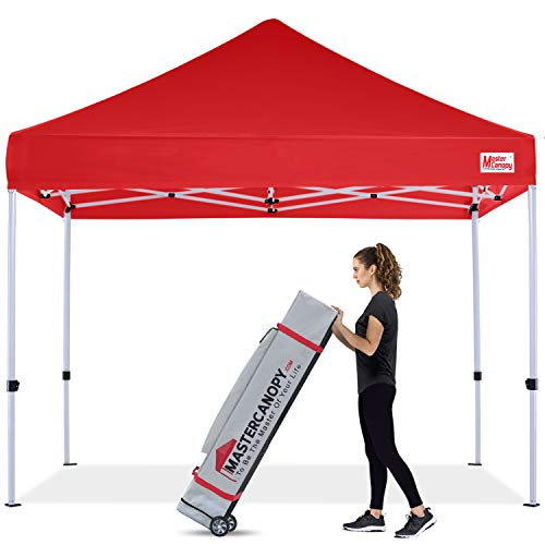 MASTERCANOPY Pop Up Canopy Tent 10x10 Commercial Instant Canopies with Heavy Duty Roller Bag, Bonus 4 Canopy Sand Bags (10'x10',Red)