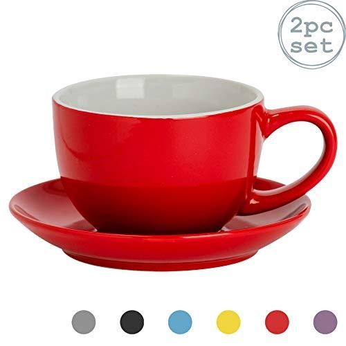 Argon Tableware 2 Pezzo colorato Cappuccino Tazza e piattino Set - Stile Moderno di tè della Porcellana e Tazza di caffè - Rosso - 250ml