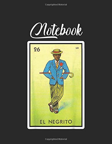 NoteBook: El Negrito Loteria Mexican Lottery Bingo Funny Blank Vinetage Floral Notebook Marble Large Size 8.5in x 11in for Student Teacher Friend with 110 Page