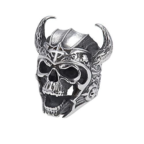 DZXCB Anillo De Calavera De Guerrero Vikingo 316L Acero Inoxidable para Hombre Moda Punk Gothic Rock Joyería,8