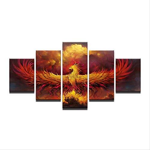 DGGDVP Lienzo Pintura Abstracta Arte de Pared Modular 5 Piezas Fuego Phoenix Pájaro Imágenes Sala Decoración para el hogar HD Impreso Cartel Tamaño 1 Sin Marco