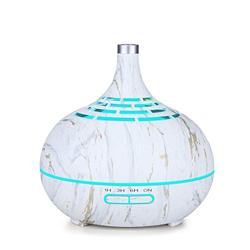 TaoRan Humidificador ultrasónico de Aroma de Grano de Madera Hueca de 400 ml luz de Noche Colorida máquina de aromaterapia de luz Creativa para Dormitorio Sala de Estar Oficina-Grano de Madera Blanca