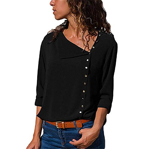 Blouse Women Chiffon Irregular Turn-Down Collar Solid Office Work White Blouse Tops Women Plus Size Lady Shirt Blouse T-Shirt