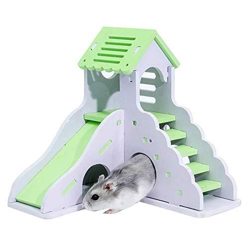 Hamster Haus aus Holz Hamster Haus, Hideout Hut Übung Natur Lustige Nest Spielzeug-Grün-Rosa Perfekt for Kleintiere Käfige Pens (Farbe: Pink, Größe: 16.7x16.5x16cm) ZHANGKANG