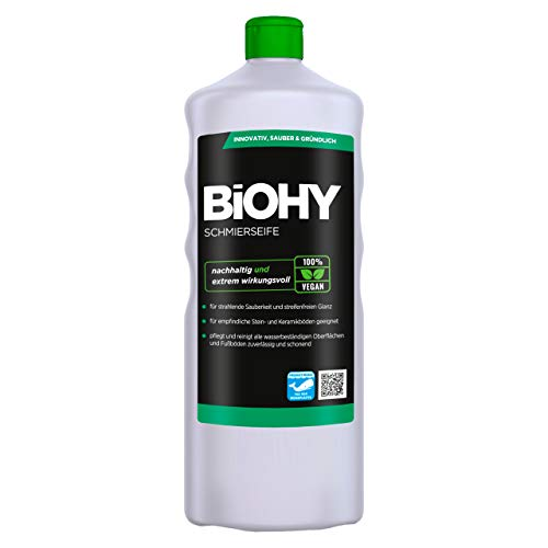 BiOHY Schmierseife (1l Flasche) | Fußbodenreiniger KONZENTRAT | Natürliche Inhaltsstoffe | anwendbar auf allen empfindlichen Oberflächen | Kautschuk, Linoleum, Parkett, PVC, Stein