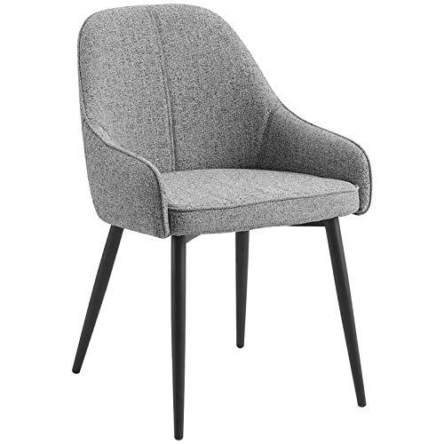 WOLTU Esszimmerstühle BH185gr-1 1 Stück Küchenstuhl Polsterstuhl Wohnzimmerstuhl Sessel mit Armlehne, Sitzfläche aus Leinen, Metallbeine, Grau