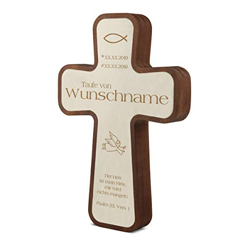 Taufkreuz Kinderkreuz aus langlebigen Kebony- und Pappelholz inkl. individueller Gravur 11x16x2,2cm - Engel