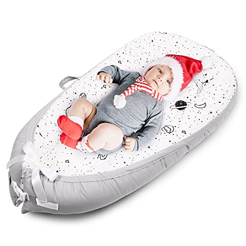 Uaugh Astronaut Baby Lounger & Infant Nest Lounger, Baby Nest for Bassinet Mattress & Baby Bedside Sleeper, Cotton Newborn Lounger for Crib, Baby Co-Sleeping, Essential Baby Shower Gifts(0-12 Month)