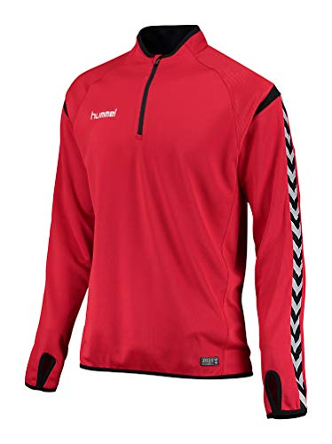 Hummel Sweater Heren - Authentiek Charge Training SWEAT - Trainingspullover heren lange mouwen - Longsleeve met kraag & 1/2 rits - shirt met lange mouwen grijs of rood.