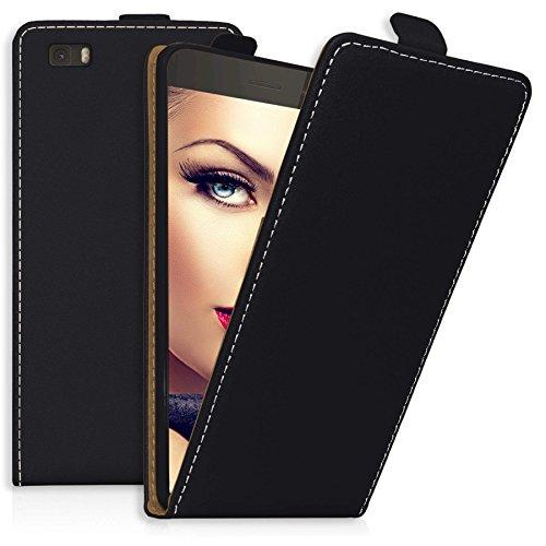 mtb more energy® Flip-Hülle Tasche für Huawei P8 Lite (ALE-L21. / 2015/5.0'') - Schwarz - Kunstleder - Schutz-Tasche Cover Hülle