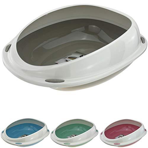 Smartweb Katzenklo 57cm x 40cm x 19cm Katzentoilette mit Anti Schmutzrand für kleine und große Katzen WC (Grau)