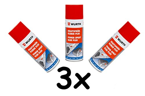 Würth krachtige spuitlijm Plus 3x 400 ml extra sterke spray lijm