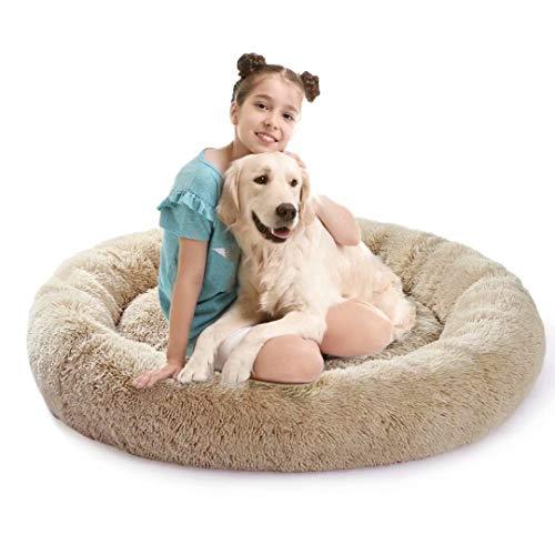 Hundebett,Flauschig Hundebett, Round Plüsch Hundebett,Orthopädisches Hundebett,Soft Warm Cosy,Washable for Cats and Dogs