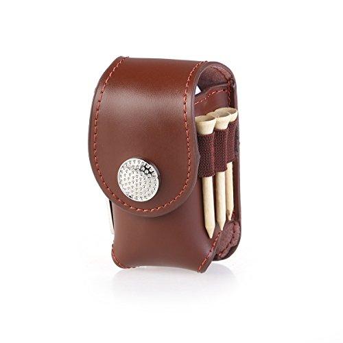 WINOMO Golf Tee Tasche Mini tragbare Clip auf Golfball Halter Tasche Tasche halten 2 Bälle Golfer Aid Tool Geschenk (braun)
