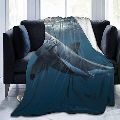 Manta de forro polar de 127 cm x 152 cm – Great White Shark Priroda More Home franela suave cálida manta de felpa para cama, sofá, oficina, camping