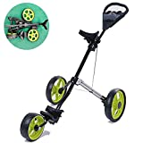 Golf Push Cart, 3 Wheel Push Pull Golf Cart, Lightweight Foldable Golf Trolley