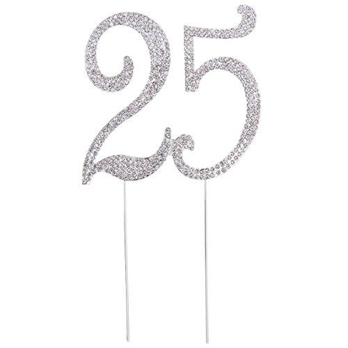 STOBOK Kuchen Topper Strass 25 Zahl Kuchendeckel Kuchendekoration für 25. Jahrestag Geburtstag Party Zubehör (Silber)