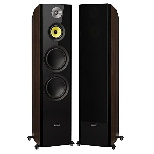 """Fluance Signature HiFi 3-Way Floorstanding Tower Speakers with Dual 8"""" Woofers for 2-Channel Stereo Listening or Home Theater System - Natural Walnut/Pair (HFFW)"""