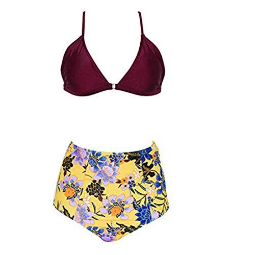 Minasan - Conjunto de bikini con parte superior acolchada y cintura alta y parte inferior de cintura alta para mujer Rojo rojo vino Medium