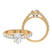 6 x 8 MM 梨型認定可憐なモアッサナイトソリティアリング 2.01 カラット D-VSSI モアッサナイト婚約指輪彼女用、ソリッドゴールドレディースサイドストーンリング, 14K イエローゴールド, Size: 11