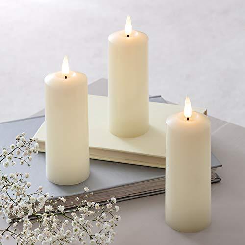 Lights4fun 3er Set TruGlow® LED Echtwachskerzen mit warmweißer LED Flamme Timer 12,5cm batteriebetrieben