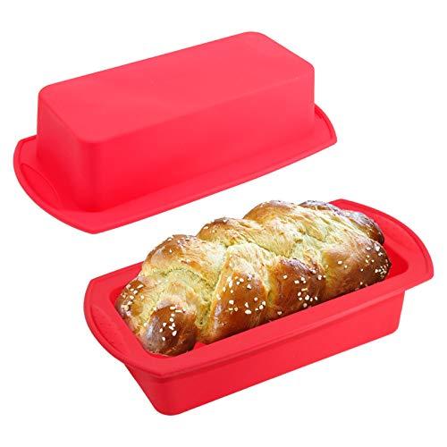 WIFUN 2 Stück Silikon-Brot- und Kastenform, antihaftbeschichtet, Backform für hausgemachte Kuchen, Brot, Hackbraten, Pizza, Quiche (rot)