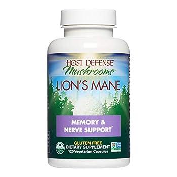 Host Defense Lion s Mane Capsules Promotes Mental Clarity Focus and Memory Daily Mushroom Supplement Vegan Organic 120 Capsules  60 Servings