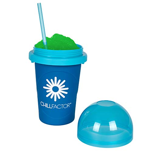 Slushy Maker Chillfactor Magic Freez | Slush Ice Becher mit Strohhalmlöffel | Eisbecher Glas Alternative für Eis selber machen | Slush Ice Maker (Blaubeere)