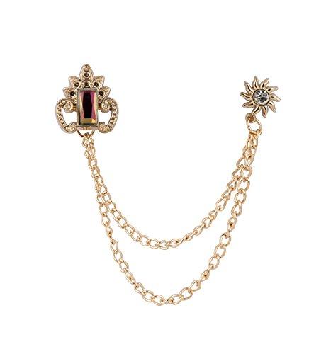 Chevalière Couronnée arc-en-ciel Pierre avec chaîne de suspension et pierre ensoleillée - Badge pour costume de mariage, fête costume, collier, accessoires pour homme