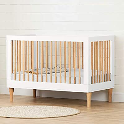 Balka 3 in 1 Convertible Crib-Pure White and Exotic Light Wood-South Shore by South Shore