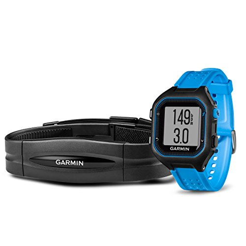 Garmin Forerunner 25 Bundle with Heart Rate Monitor (Large) - Black and Blue