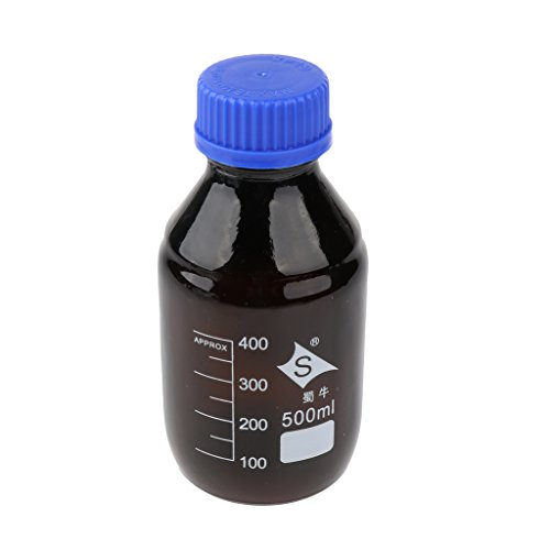 LOVIVER 100ml-1000ml Reagenzflasche Glas Laborgewindeflasche Borosilikatglas Laborflasche, Braun - 500ml
