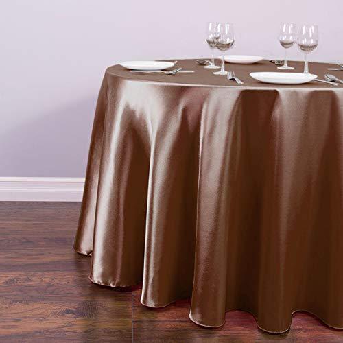 Witte Satijn Ronde Tafelkleed Tafelhoes Groothandel voor Bruiloft Kerstmis Tafelkleed Decoren voor Home Event Party Hotel benodigdheden 180CM-70.86inch Chocolade