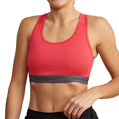 DANISH ENDURANCE Reggiseno Sportivo Donna Senza Ferretto per Fitness, Yoga, Running e Palestra (Rosa, Medium)