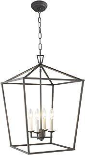 Suspension Luminaires Industrielle, Ajustable Vintage 4 Lustre Lanterne Noire Salon Lampe, Suspendue Luminaire Plafonnier ...