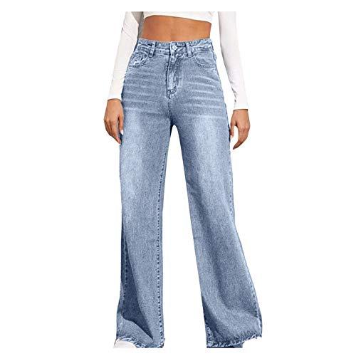 CofeeMO Bravetoshop Women Loose Boyfriends Jeans High Waist Baggy Denim Pants Wide Leg Straight Trousers Fashion Streetwear (Blue,S)